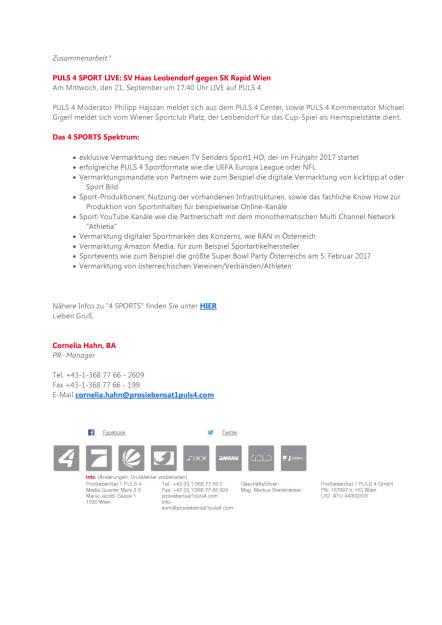 ProSiebenSat.1Puls4: Sportvermarkter 4 Sports wird Partner des ÖFB, Seite 2/2, komplettes Dokument unter http://boerse-social.com/static/uploads/file_1788_prosiebensat1puls4_sportvermarkter_4_sports_wird_partner_des_ofb.pdf (19.09.2016)