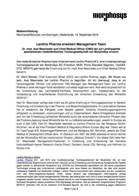 MorphoSys: Lanthio Pharma erweitert Management Team, Seite 1/2, komplettes Dokument unter http://boerse-social.com/static/uploads/file_1789_morphosys_lanthio_pharma_erweitert_management_team.pdf (19.09.2016)