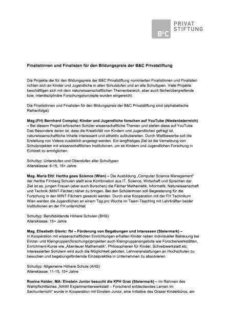 B&C Privatstiftung: Finalisten Bildungspreis, Seite 1/5, komplettes Dokument unter http://boerse-social.com/static/uploads/file_1792_bc_privatstiftung_finalisten_bildungspreis.pdf (19.09.2016)
