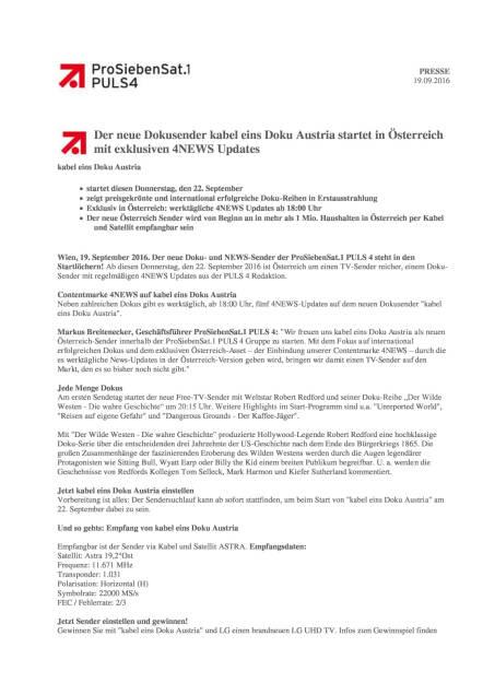 ProSiebenSat.1Puls4: Neuer Dokusender kabel eins Doku Austria, Seite 1/3, komplettes Dokument unter http://boerse-social.com/static/uploads/file_1793_prosiebensat1puls4_neuer_dokusender_kabel_eins_doku_austria.pdf (19.09.2016)