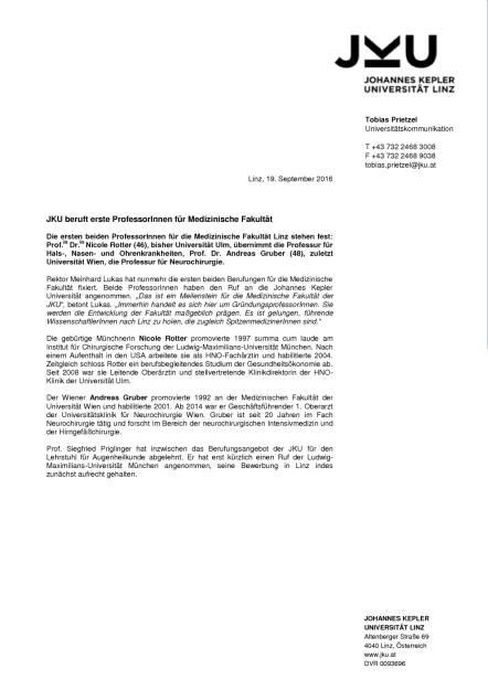 JKU: Professuren Humanmedizin, Seite 1/1, komplettes Dokument unter http://boerse-social.com/static/uploads/file_1795_jku_professuren_humanmedizin.pdf (19.09.2016)