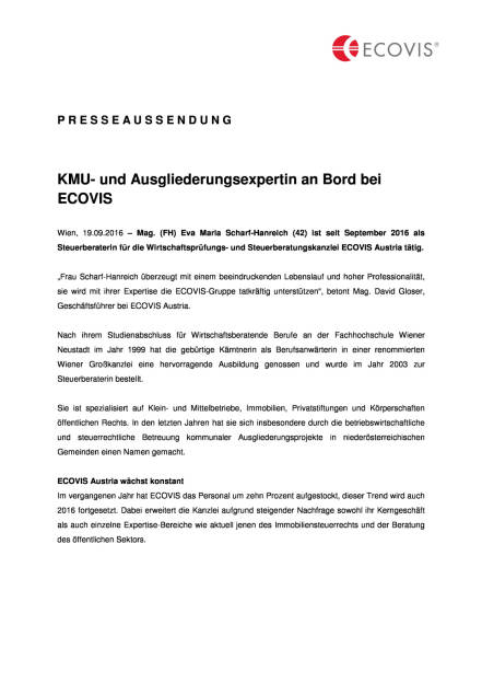 Ecovis: KMU- und Ausgliederungsexpertin an Bord, Seite 1/2, komplettes Dokument unter http://boerse-social.com/static/uploads/file_1796_ecovis_kmu-_und_ausgliederungsexpertin_an_bord.pdf (19.09.2016)