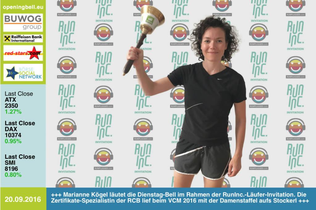 #openingbell am 20.9.: Marianne Kögel läutet die Opening Bell für Dienstag im Rahmen der RunInc.-Läufer-Invitation. Die Zertifikate-Spezialistin der RCB lief beim VCM 2016 mit der Damenstaffel aufs Stockerl, am vergangenen Wochenende war sie fünfbeste Frau beim Halbmarathon am Stubenbergsee, 2. AK, siehe http://photaq.com/page/index/2348 http://www.rcb.at http://www.runinc.at http://www.runplugged.com http://www.openingbell.eu (20.09.2016)