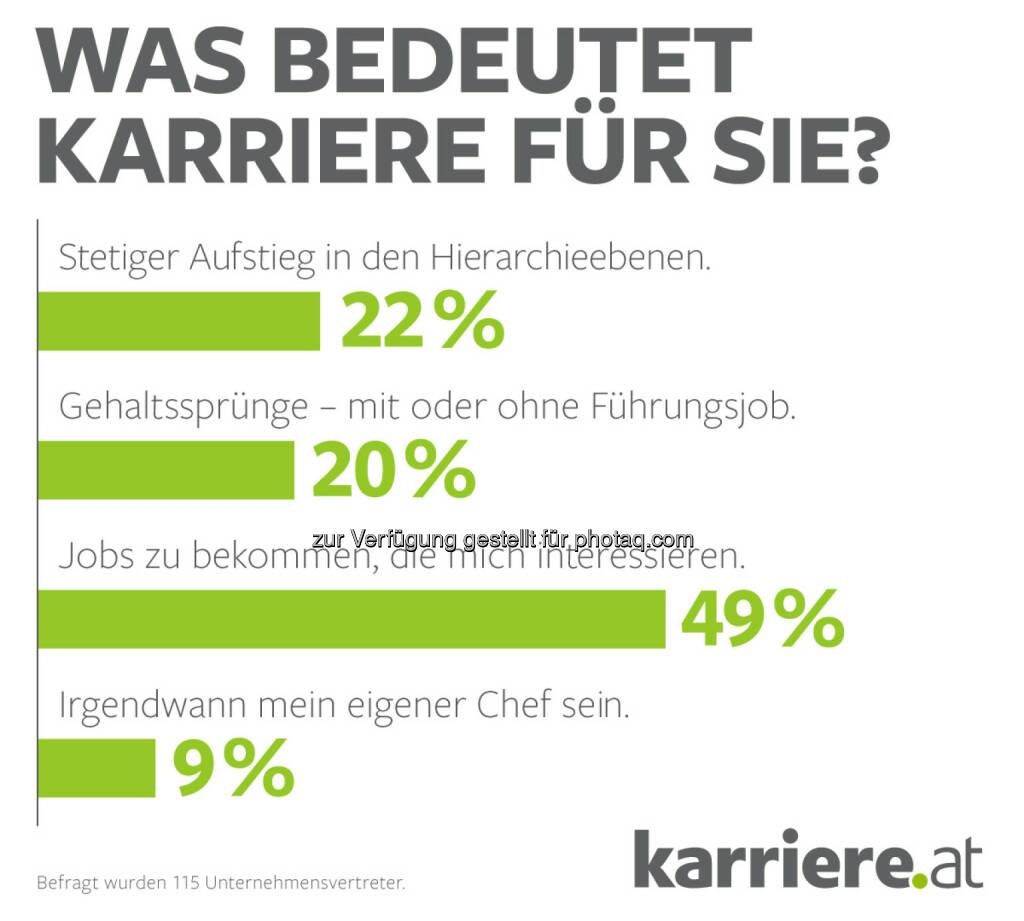 """Grafik """"Was bedeutet Karriere für Sie?"""" : Online-Umfrage, 115 Unternehmensvertreter : Fotocredit: karriere.at/Ecker, © Aussender (20.09.2016)"""