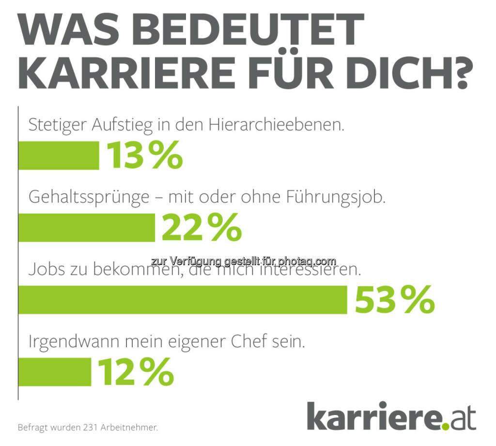 """Grafik """"Was bedeutet Karriere für Dich?"""" : Online-Umfrage, 231 Arbeitnehmer : Fotocredit: karriere.at/Ecker, © Aussender (20.09.2016)"""