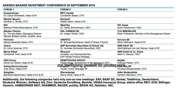 Baader Konferenz in München