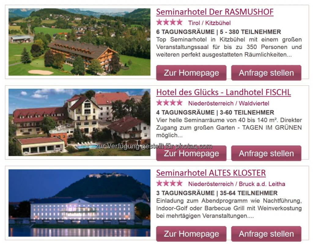 Screenshot ePortal Seminar- und Tagungshotels in Österreich : Neues ePortal für Seminar- und Tagungshotels in Österreich : Leistungsorientierte Verrechnung ohne Vertragsbindung : Fotocredit: e-consulting.at/Jungwirth, © Aussendung (22.09.2016)