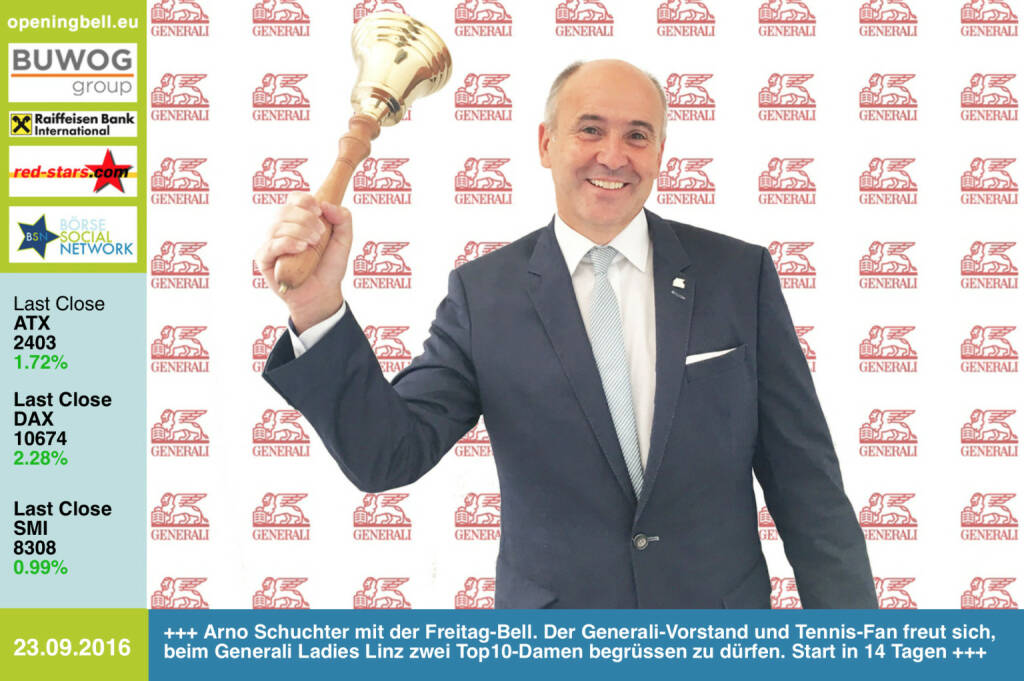 #openingbell am 23.9.: Arno Schuchter mit der Opening Bell für Freitag. Der Generali-Vorstand und Tennis-Fan freut sich, beim Generali Ladies Linz zwei Top10-Damen begrüssen zu dürfen. Start in 14 Tagen http://www.generali-ladies.at https://twitter.com/kapliskova https://twitter.com/carlasuareznava http://www.generali.at http://www.openingbell.eu (23.09.2016)