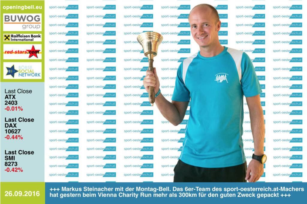 #openingbell am 26.9.: Markus Steinacher läutet die Opening Bell für Montag. Das 6er-Team des http://www.sport-oesterreich.at - Machers (bestehend aus Ultraläufern und Hobbysportlern) hat gestern beim Vienna Charity Run mehr als 300km für den guten Zweck gepackt, siehe Runletter #14 http://runplugged.com/newsletter/preview/1532 http://www.openingbell.eu (26.09.2016)