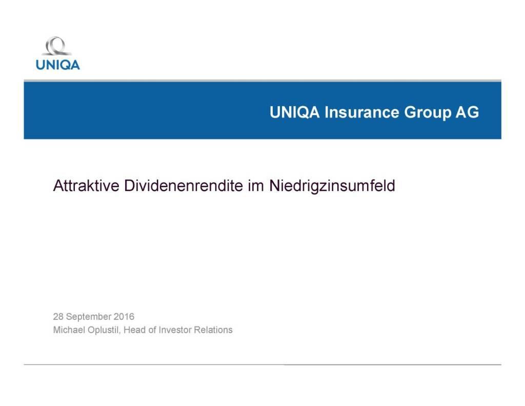 Uniqa - Attraktive Dividendenrendite im Niedrigzinsumfeld (29.09.2016)