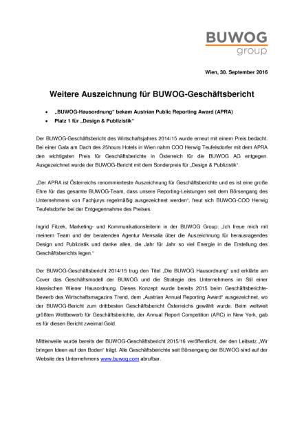 Buwog: Weitere Auszeichnung für Geschäftsbericht, Seite 1/2, komplettes Dokument unter http://boerse-social.com/static/uploads/file_1856_buwog_weitere_auszeichnung_fur_geschaftsbericht.pdf (30.09.2016)