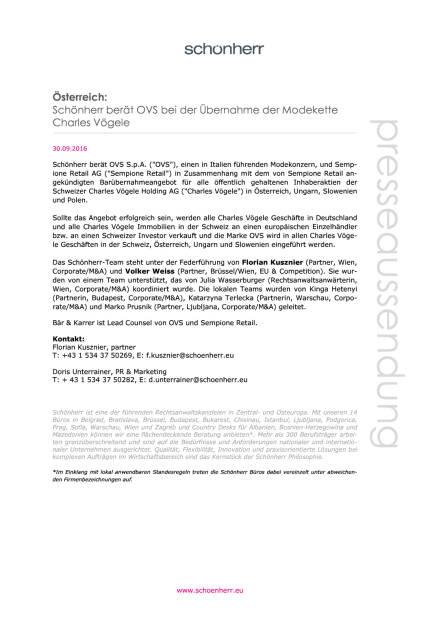 Schönherr berät OVS bei der Übernahme der Modekette Charles Vögele , Seite 1/1, komplettes Dokument unter http://boerse-social.com/static/uploads/file_1858_schonherr_berat_ovs_bei_der_ubernahme_der_modekette_charles_vogele.pdf (30.09.2016)