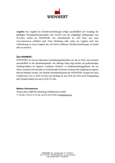 Wienwert: Neue Anleihe, Seite 2/2, komplettes Dokument unter http://boerse-social.com/static/uploads/file_1859_wienwert_neue_anleihe.pdf (30.09.2016)