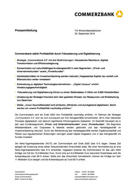 Commerzbank: Profitabilität durch Fokussierung und Digitalisierung, Seite 1/6, komplettes Dokument unter http://boerse-social.com/static/uploads/file_1861_commerzbank_profitabilitat_durch_fokussierung_und_digitalisierung.pdf (30.09.2016)