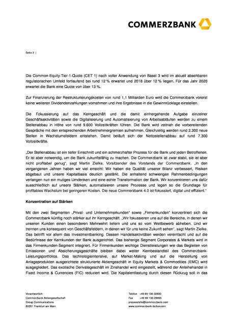 Commerzbank: Profitabilität durch Fokussierung und Digitalisierung, Seite 2/6, komplettes Dokument unter http://boerse-social.com/static/uploads/file_1861_commerzbank_profitabilitat_durch_fokussierung_und_digitalisierung.pdf (30.09.2016)