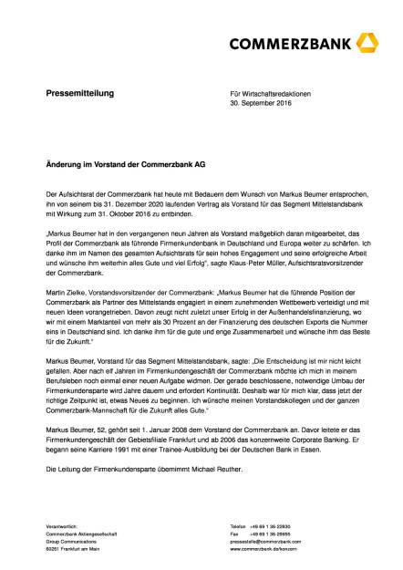 Commerzbank: Änderung im Vorstand, Seite 1/3, komplettes Dokument unter http://boerse-social.com/static/uploads/file_1860_commerzbank_anderung_im_vorstand.pdf (30.09.2016)