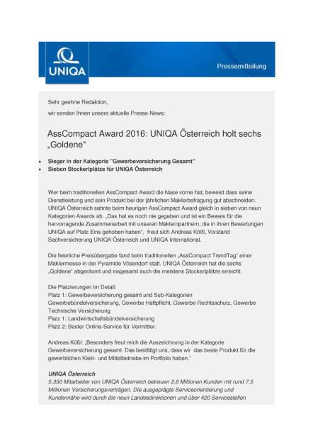 Uniqa Österreich: AssCompact Award 2016, Seite 1/2, komplettes Dokument unter http://boerse-social.com/static/uploads/file_1865_uniqa_osterreich_asscompact_award_2016.pdf (30.09.2016)