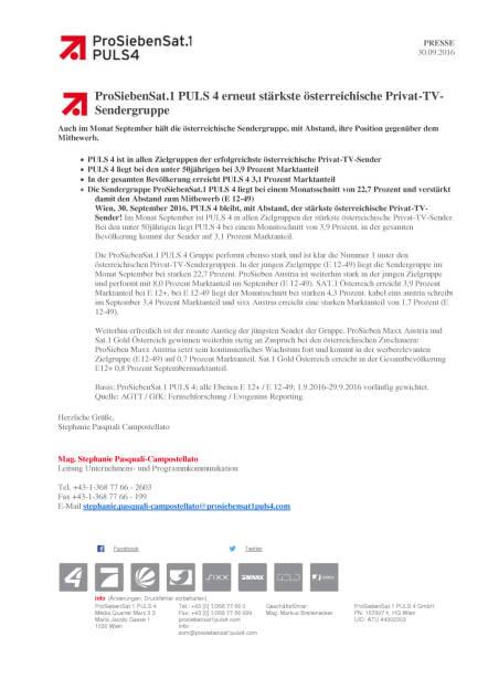 ProSiebenSat.1 Puls 4: Stärkste österreichische Privat-TV-Sendergruppe, Seite 1/1, komplettes Dokument unter http://boerse-social.com/static/uploads/file_1866_prosiebensat1_puls_4_starkste_osterreichische_privat-tv-sendergruppe.pdf (30.09.2016)