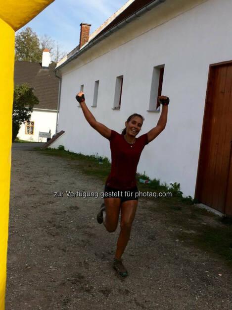 Martina Kaltenreiner beim 5. Raiffeisen Wipfelbeisser, yes!© Gerhardl Haba (03.10.2016)