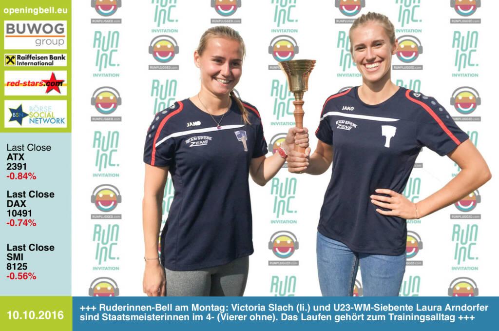 #openingbell am 10.10.: Ruderinnen-Bell der U23-WM-Starterinnen am Montag: Victoria Slach (li.) und U23-WM-Siebente Laura Arndorfer sind Staatsmeisterinnen im 4- (Vierer ohne). Sie läuten im Rahmen der RunInc.-Invitation, das Laufen gehört zum Trainingsalltag http://www.runinc.at http://www.openingbell.eu http://www.runplugged.com (10.10.2016)