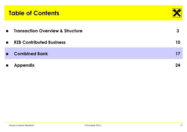 RBI - Table of Contents