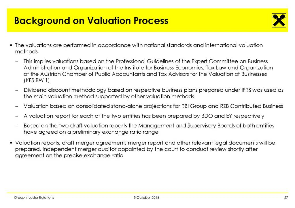 RBI - Background on Valuation Process (11.10.2016)
