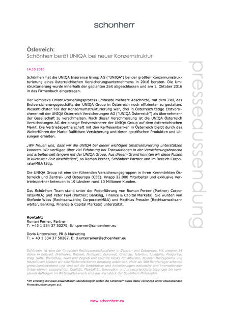 Schönherr berät Uniqa bei neuer Konzernstruktur, Seite 1/1, komplettes Dokument unter http://boerse-social.com/static/uploads/file_1904_schonherr_berat_uniqa_bei_neuer_konzernstruktur.pdf (14.10.2016)