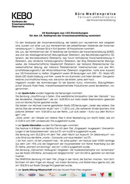 KEBO: Nominierungen 19. Radiopreis der Erwachsenenbildung, Seite 1/2, komplettes Dokument unter http://boerse-social.com/static/uploads/file_1905_kebo_nominierungen_19_radiopreis_der_erwachsenenbildung.pdf (14.10.2016)
