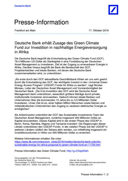 Deutsche Bank: Green Climate Fund, Seite 1/2, komplettes Dokument unter http://boerse-social.com/static/uploads/file_1908_deutsche_bank_green_climate_fund.pdf (17.10.2016)