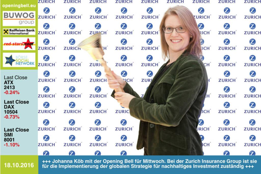 #openingbell am 18.10.: Johanna Köb mit der Opening Bell für Mittwoch. Bei der Zurich Insurance Group ist sie für die Implementierung der globalen Strategie für nachhaltiges Investment zuständig http://www.zurich.com/en/corporate-responsibility/responsible-investment http://www.openingbell.eu (18.10.2016)