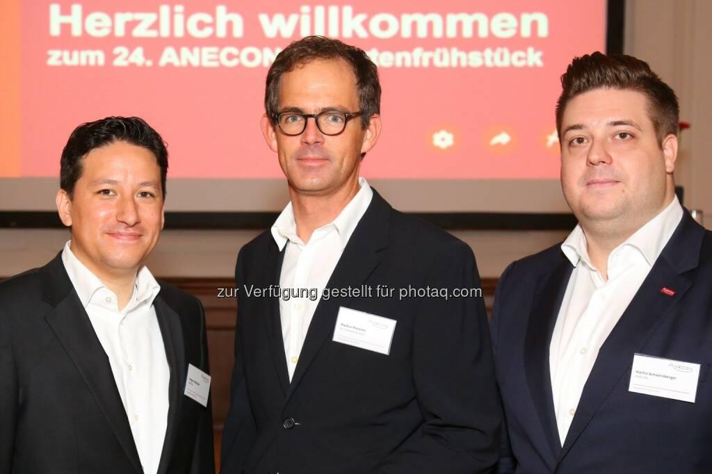 Gregor Habinger (Leitung Software Practices & Processes bei Anecon), Markus Mazanec (Head of IT Delivery bei A1 Telekom AG), Martin Schweinberger (Teamleiter Test Automation bei Anecon) : 24. Anecon Expertenfrühstück – Thema: DevOps - Zusammenarbeitsmodelle und automatisierte Prozess in IT-Organisationen : Fotocredit: Anecon Software Design und Beratung G.m.b.H./APA-Fotoservice/Schedl, © Aussendung (18.10.2016)