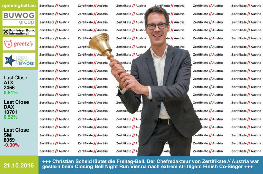 #openingbell am 21.10.: Christian Scheid läutet die Freitag-Bell. Der Chefredakteur von Zertifikate // Austria war gestern beim Closing Bell Night Run Vienna nach extrem strittigem Finish Co-Sieger, hier einige Bilder vom Zieleinlauf http://runplugged.com/2016/10/21/totes_rennen_beim_closing_bell_night_run_vienna_christian_drastil_via_runplugged_runkit  http://www.zertifikate-austria.at http://www.openingbell.eu  (21.10.2016)