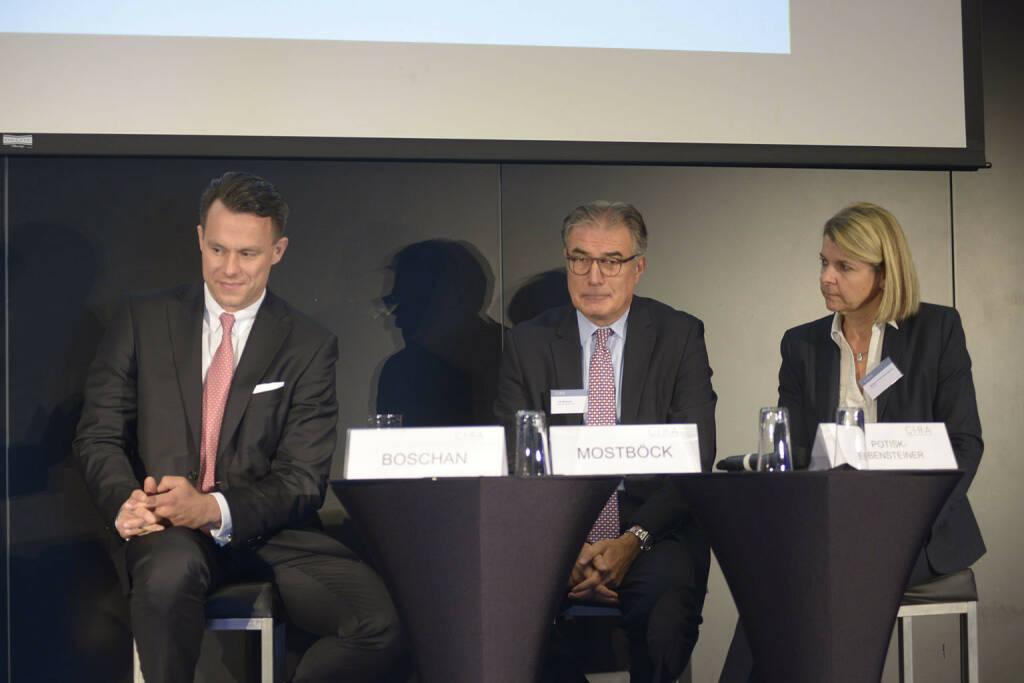 Christoph Boschan (Wiener Börse AG), Fritz Mostböck  (Erste Group Bank AG, ÖVFA), Barbara Potisk-Eibensteiner (RHI AG), © C.I.R.A./APA-Fotoservice/Bargad Fotograf/in: Nadine Bargad (23.10.2016)