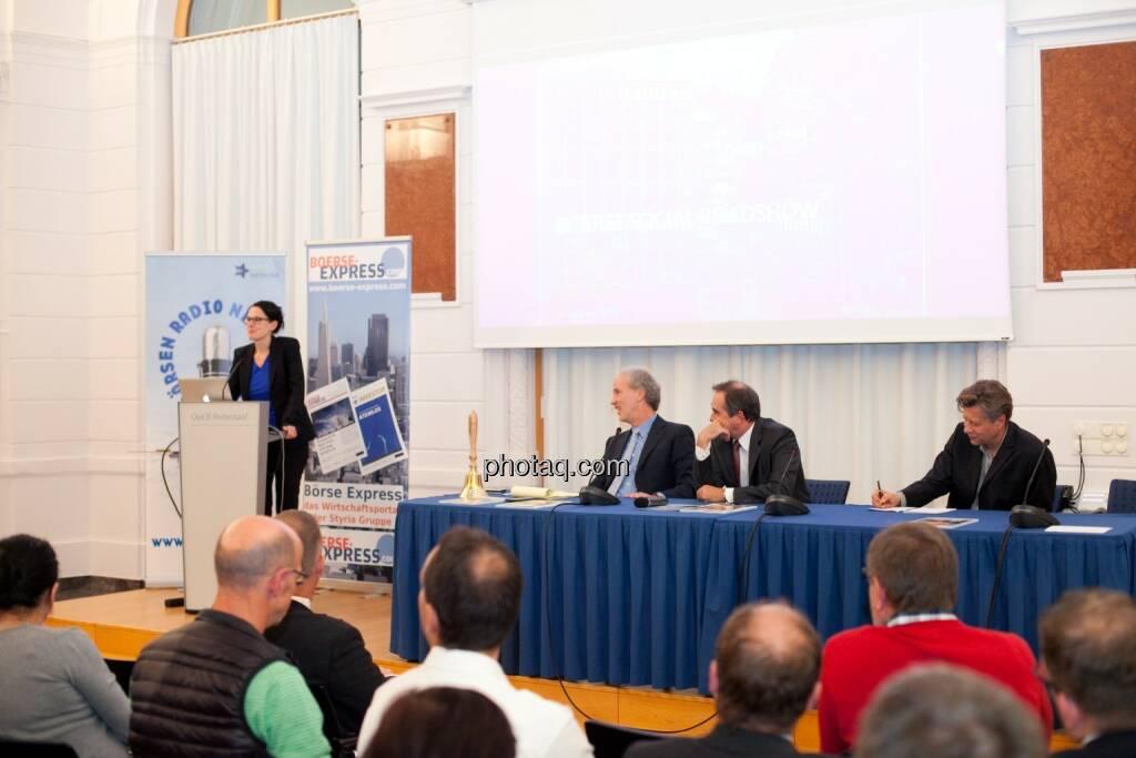 Bettina Schragl (Immofinanz), Christian Drastil (BSN), Wolfgang Matejka (Matejka & Partner), Robert Gillinger (Börse Express), © Michaela Mejta (25.10.2016)