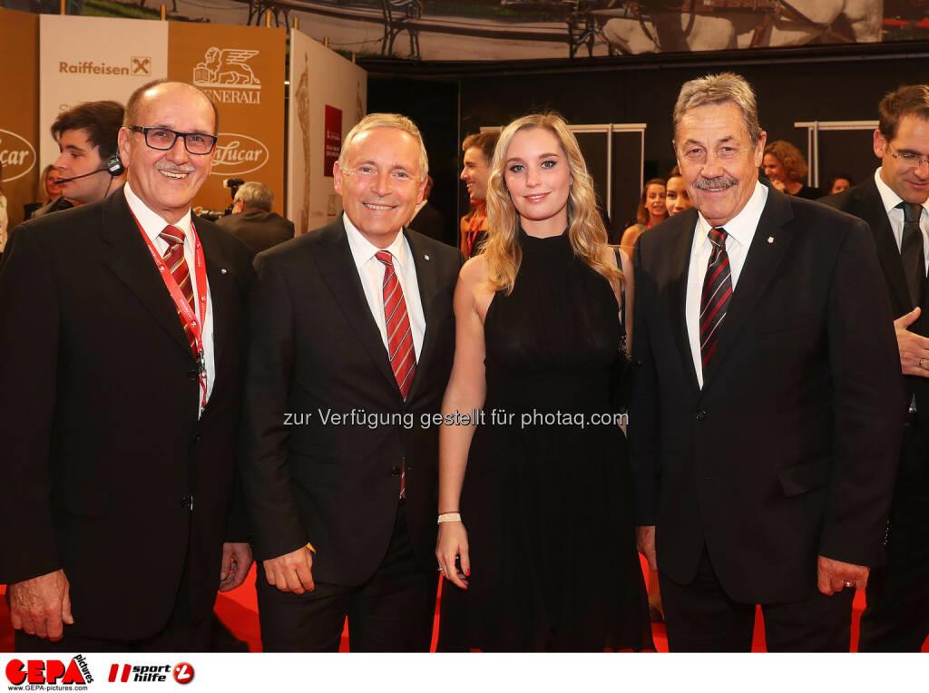 Felix Netopilek, president Christian Purrer, Jacqueline Flick and Peter Putzgruber Photo: GEPA pictures/ Hans Oberlaender (28.10.2016)