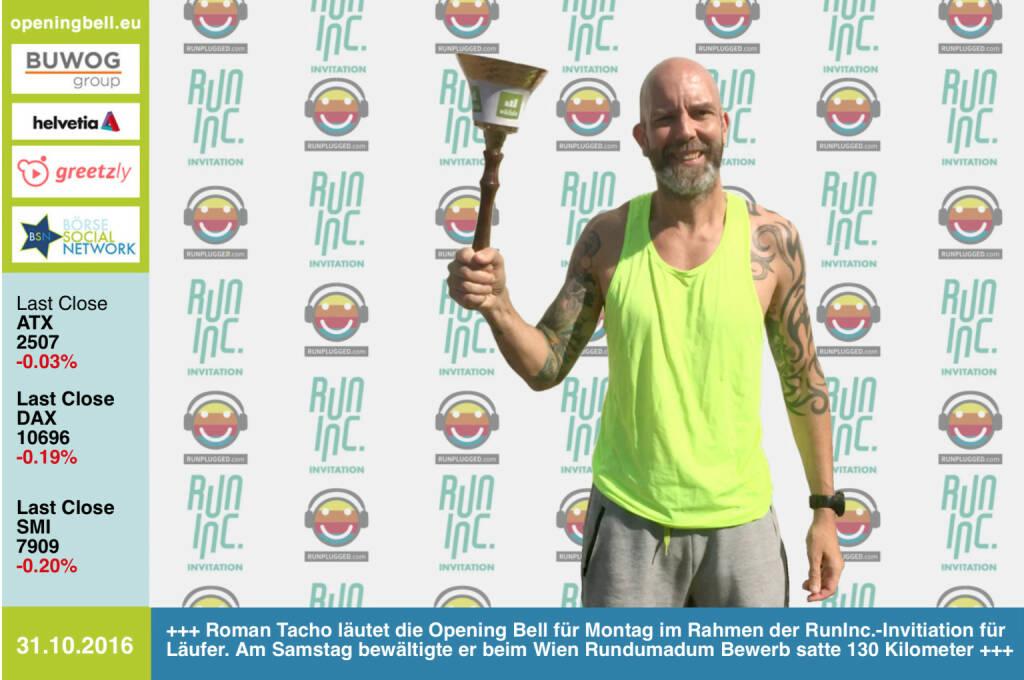 Roman Tacho läutet die Opening Bell für Montag im Rahmen der RunInc.-Invitiation für Läufer. Am Samstag bewältigte er beim Wien Rundumadum Bewerb satte 130 Kilometer http://www.wien-rundumadum.at/ http://www.runinc.at http://www.runplugged.com http://www.openingbell.eu (31.10.2016)