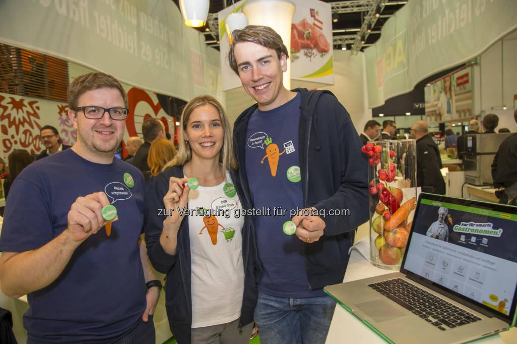 Christoph Stix, Christina Primus, und Geschäftsführer Thomas Primus - FoodNotify: Start-up FoodNotify schafft digitalen Marktplatz für den Großhandel (Bild: Andreas Kolarik) (10.11.2016)