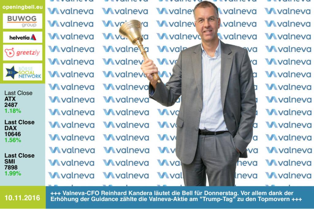 #openingbell am 10.11.: Valneva-CFO Reinhard Kandera läutet die Opening Bell für Donnerstag. Vor allem dank der Erhöhung der Guidance zählte die Valneva-Aktie am Trump-Tag  zu den Topmovern http://www.valneva.com http://www.openingbell.eu (10.11.2016)