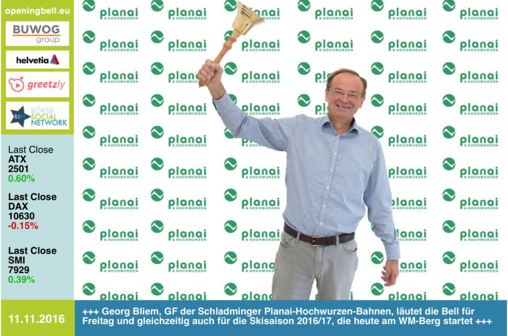 #openingbell am 11.11.: Georg Bliem, GF der Schladminger Planai-Hochwurzen-Bahnen, läutet die Bell für Freitag und gleichzeitig auch für die Skisaison 2016/17, die heute am WM-Berg startet  http://www.planai.at/de https://twitter.com/sowwg2017 http://www.openingbell.eu (11.11.2016)