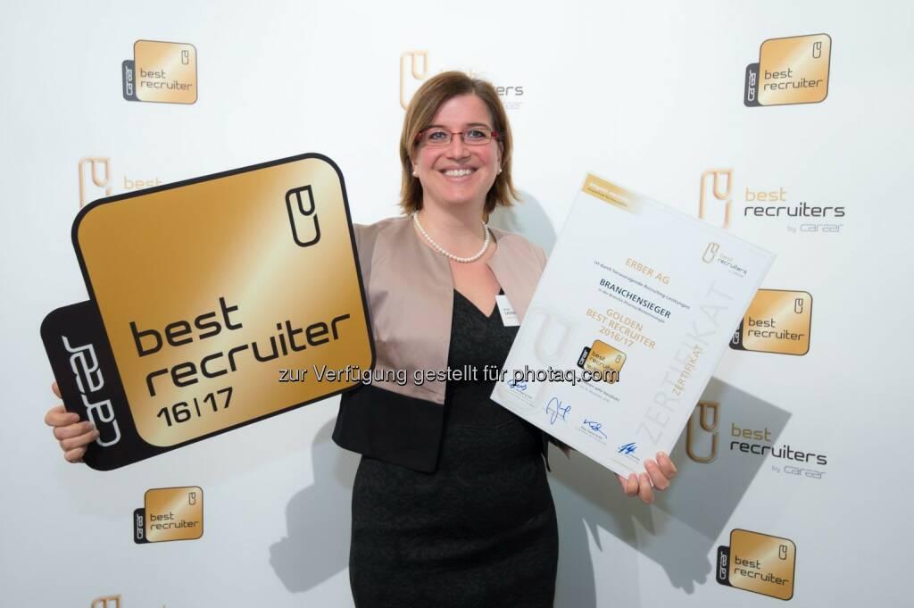 """Birgit Leitner, Erber AG: Erber AG mit """"goldenen Best-Recruiters Siegel 2016/17"""" ausgezeichnet (C) GPK/APA-Fotoservice/Hörmandinger, © Aussendung (21.11.2016)"""