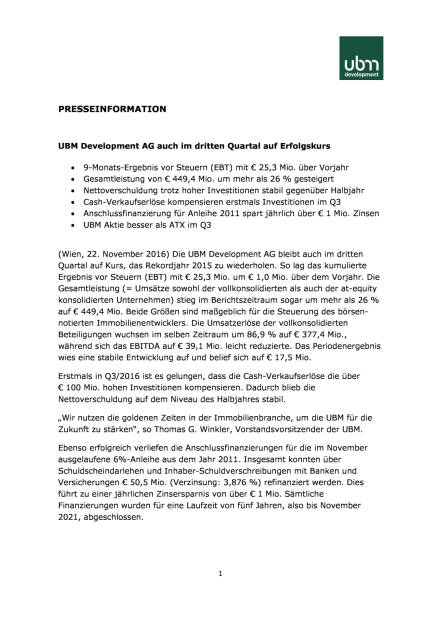UBM Q3/2016, Seite 1/3, komplettes Dokument unter http://boerse-social.com/static/uploads/file_1987_ubm_q32016.pdf (22.11.2016)