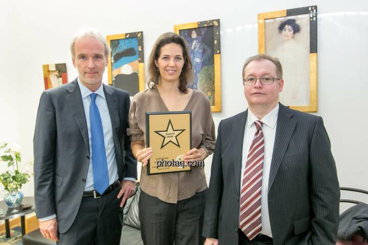 Christian Drastil (BSN), Christine Reitsamer (Baader Bank), Gregor Rosinger (Rosinger Group) für http://www.boerse-social.com/hall-of-fame