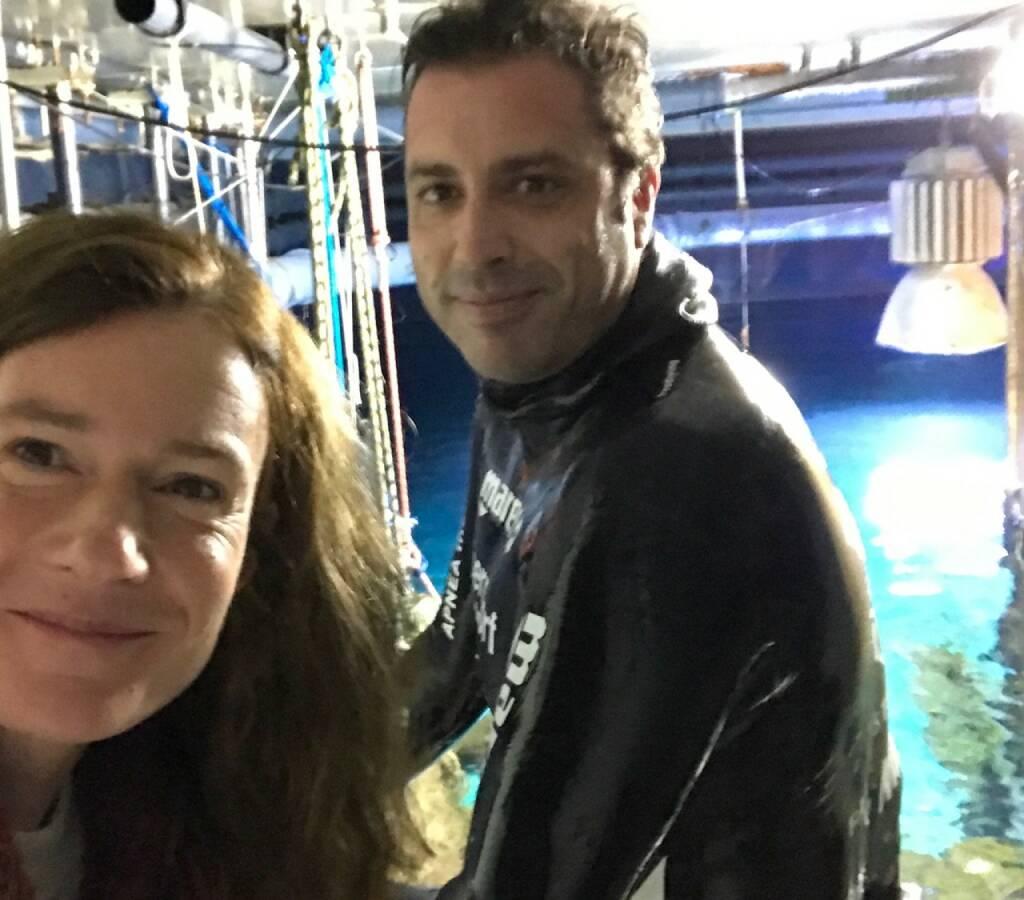 mit Christian Redl, dem 9fachen Weltrekordhalter im Apnoetauchen beim Fotoshooting im Haus des Meeres (29.11.2016)
