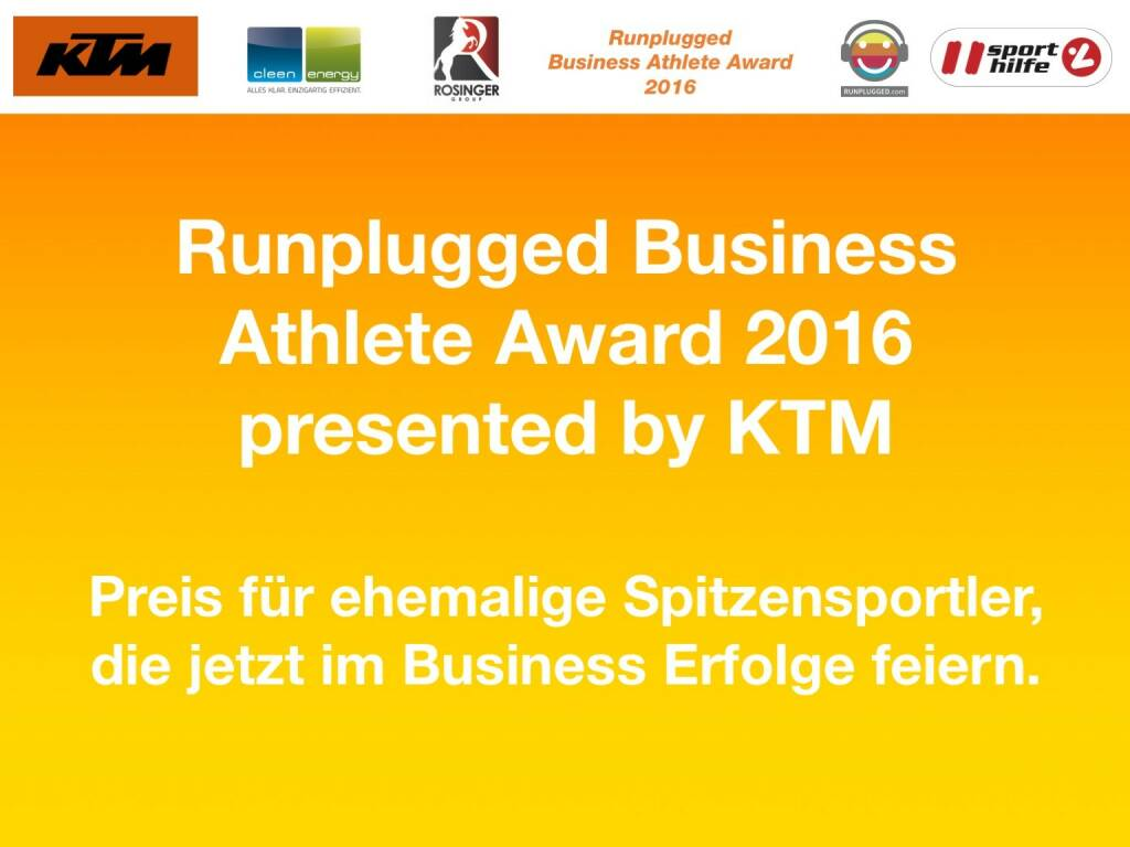 Business Athelete Award 2016 presented by KTM (06.12.2016)