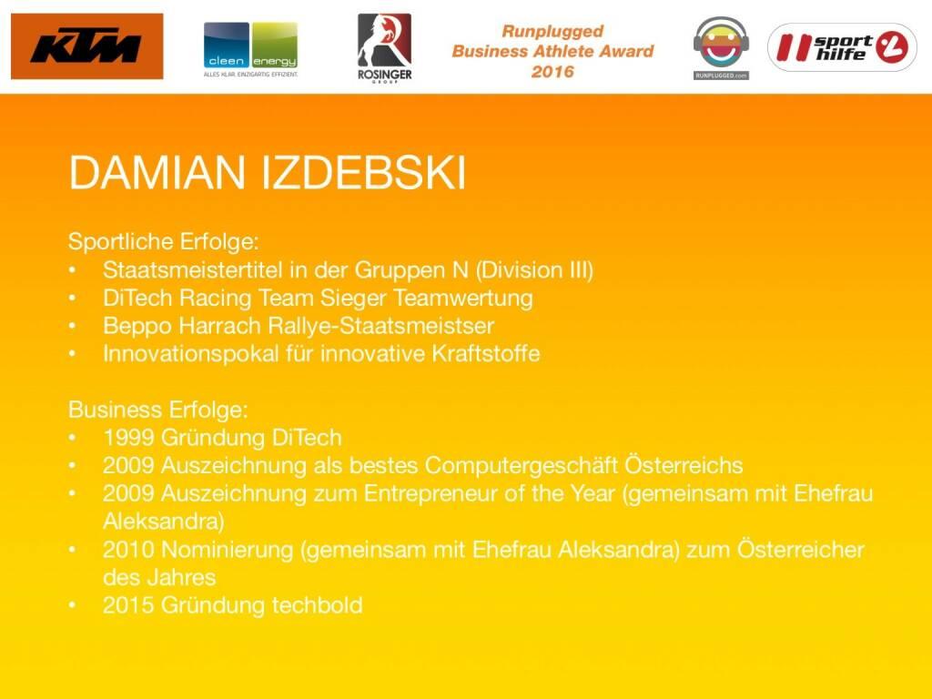 Business Athelete Award 2016 - Rang 3 Damian Izdebski (06.12.2016)