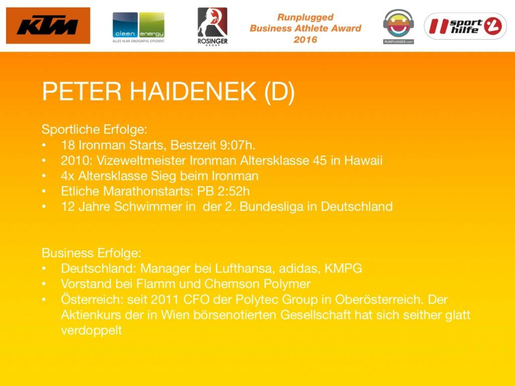 Business Athelete Award 2016 - Rang 1 Peter Haidenek (06.12.2016)