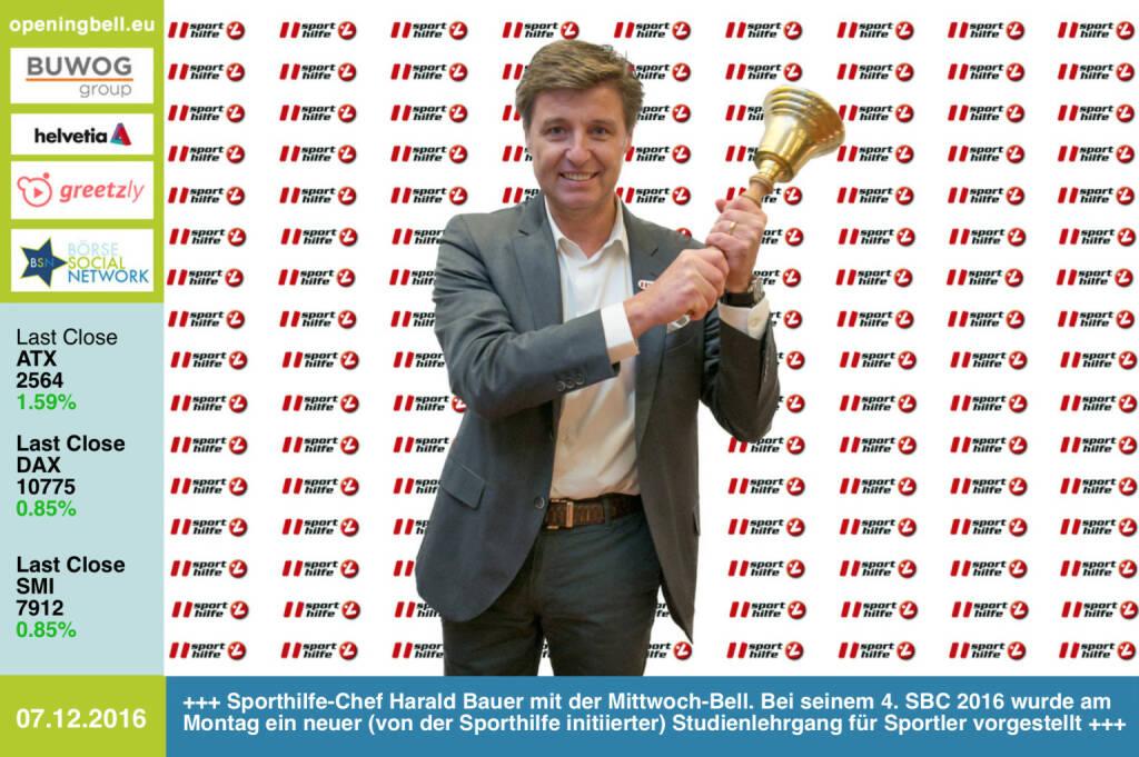 #openingbell am 7.12.: Sporthilfe-Chef Harald Bauer mit der Opening Bell für Mittwoch. Bei seinem 4. Sport & Business Circle wurde am Montag ein neuer (von der Sporthilfe initiierter) Studienlehrgang für Sportler vorgestellt. Information & Bewerbung zum Lehrgang unter http://www.fokus-zukunft.at http://www.sporthilfe.at http://www.runplugged.com/baa https://www.facebook.com/groups/Sportsblogged  (07.12.2016)
