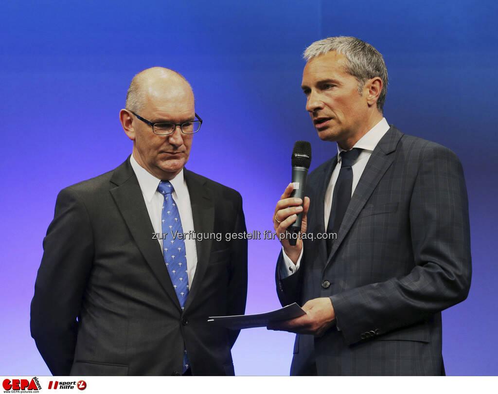 Praesident Stefan Herker (Sportunion Steiermark) und Moderator Rainer Pariasek, Foto: GEPA pictures/ Markus Oberlaender (08.05.2013)