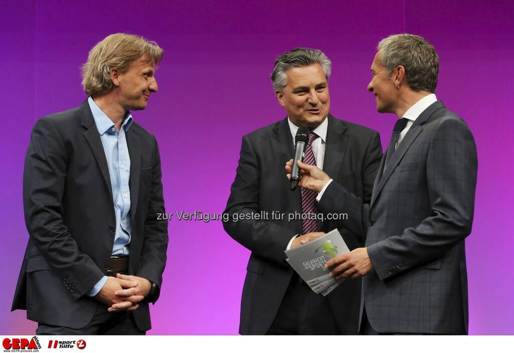 Markus Schopp (SK Sturm Graz), Hubert Patterer (Kleine Zeitung) und Moderator Rainer Pariasek, Foto: GEPA pictures/ Markus Oberlaender (08.05.2013)