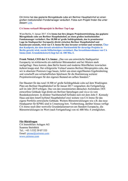 CA Immo verkauft Büroprojekt in Berliner Top-Lage, Seite 1/1, komplettes Dokument unter http://boerse-social.com/static/uploads/file_2047_ca_immo_verkauft_buroprojekt_in_berliner_top-lage.pdf (09.01.2017)